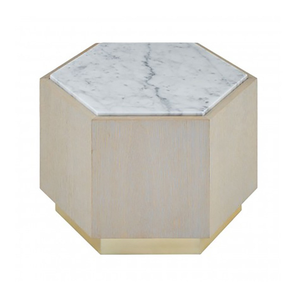 Loe III White Marble Hexagonal Side Table, Large