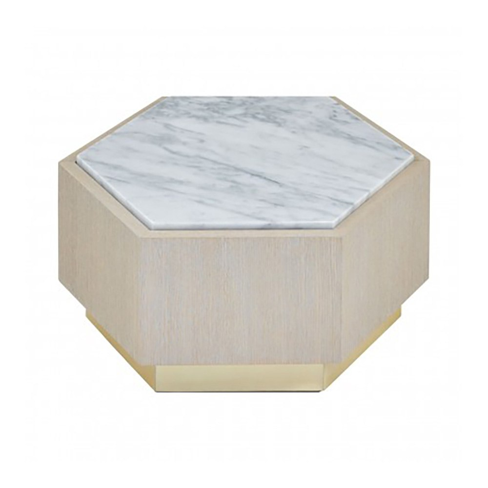Loe II White Marble Hexagonal Side Table, Small