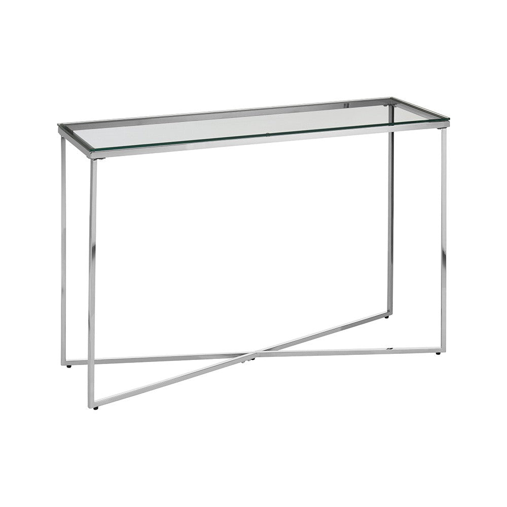 Henbury Chrome and Glass Console Table
