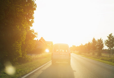 driving with glare from the sun