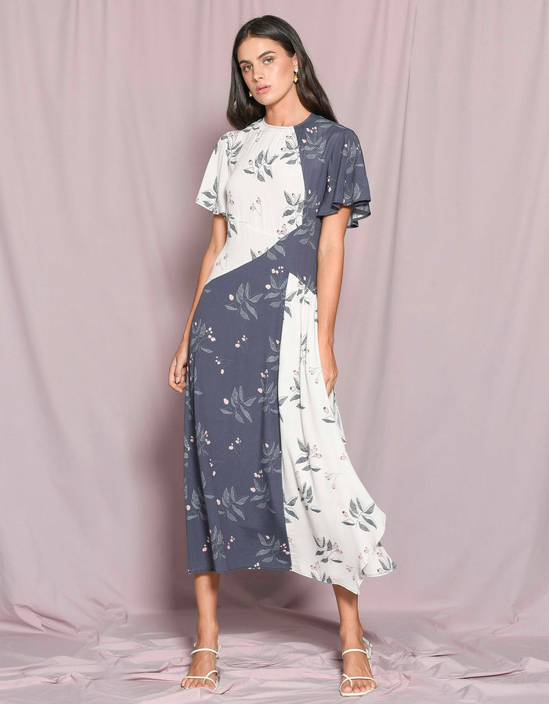Blossom Spliced Flutter Sleeve Dress by Apartment Clothing
