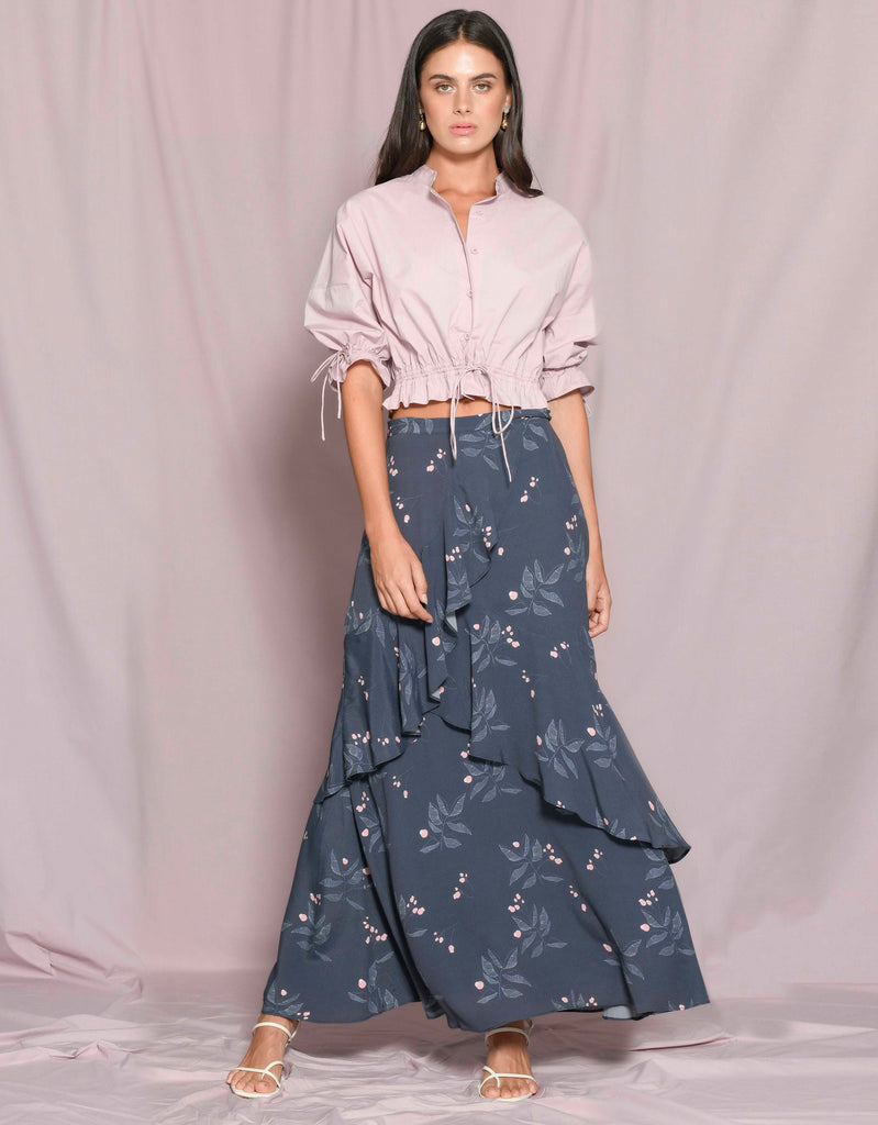 Cropped Shirt and Blossom Midi Skirt by Apartment Clothing