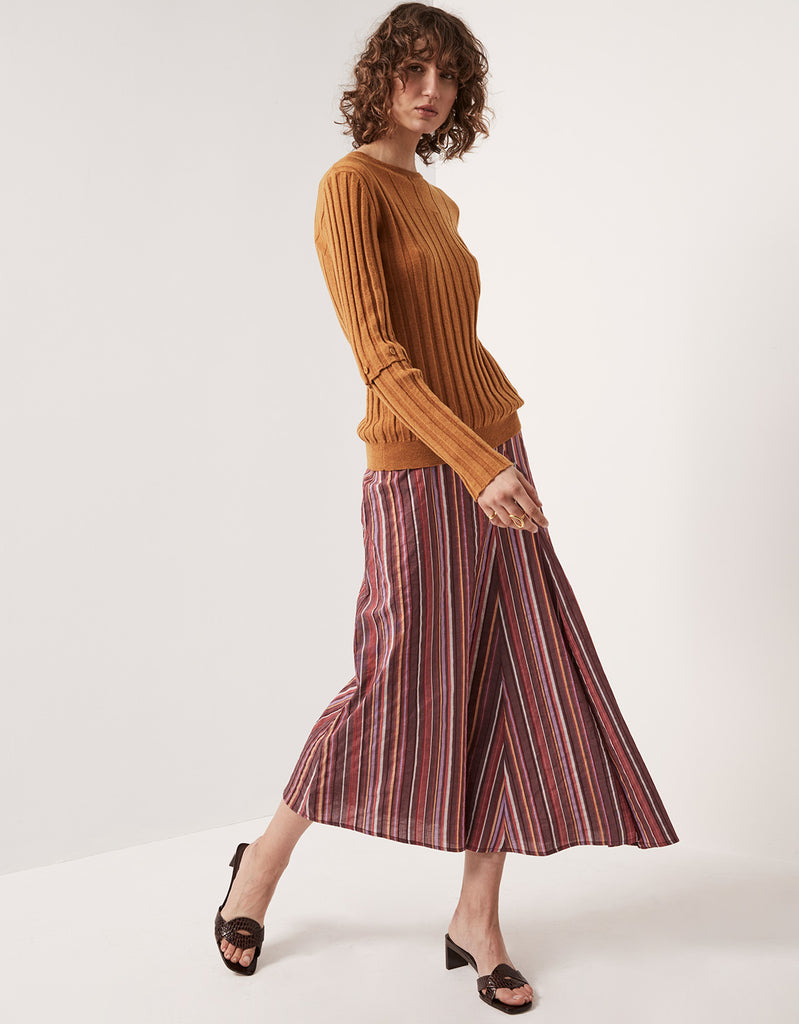 Multistripe Angled Swing Skirt by Apartment Clothing