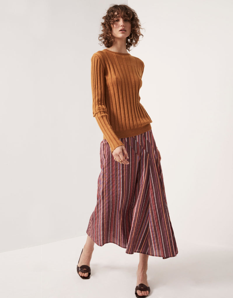 Button Sleeve Ribbed Knit in Amber and Multistripe Angled Swing Skirt by