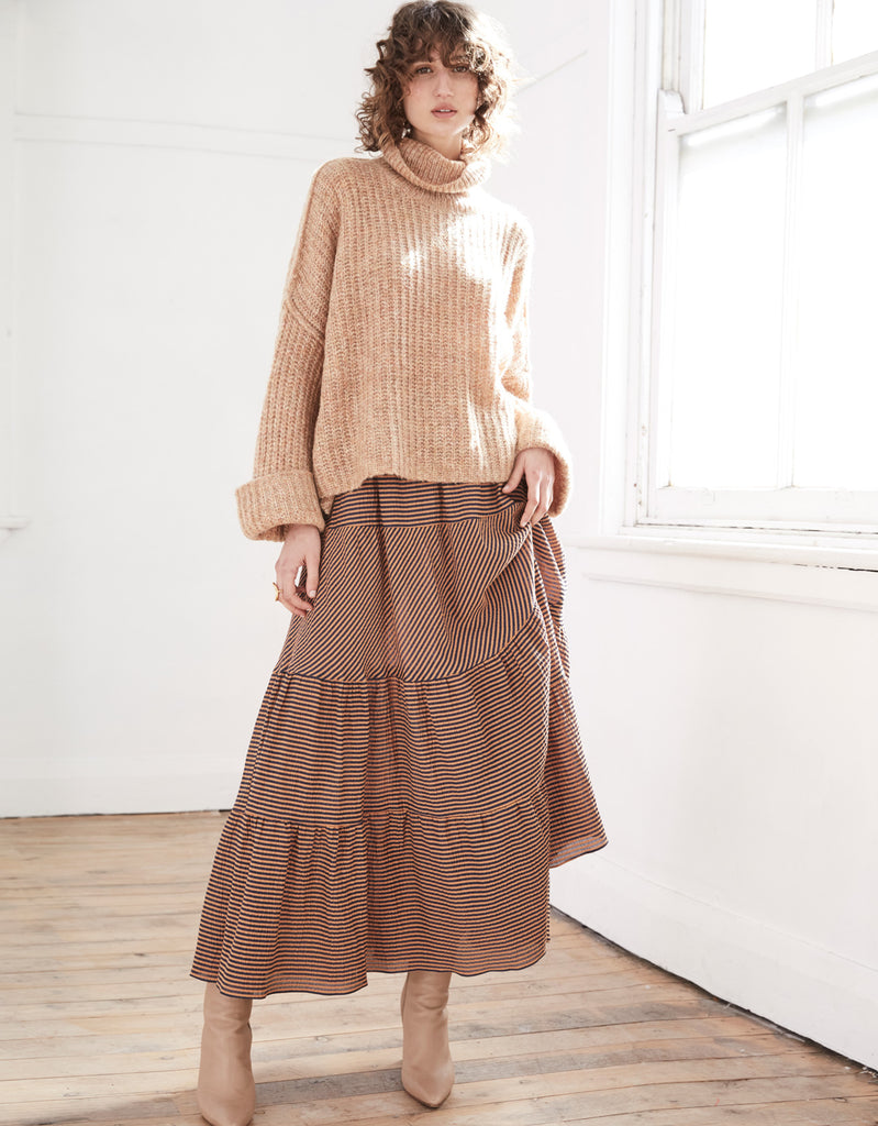 Cropped Mohair Turtleneck in Honey and the Seersucker Tiered Maxi by Apartment Clothing