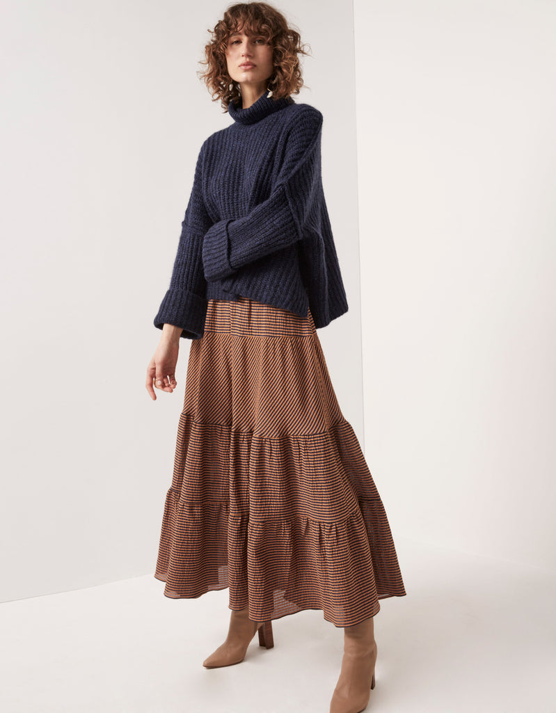 Cropped Mohair Turtleneck and Tiered Seersucker Maxi Skirt by Apartment clothing