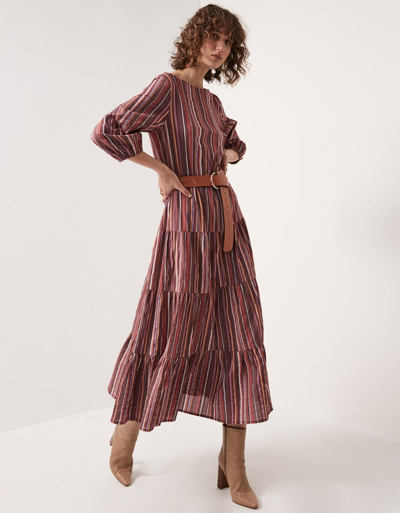 Multistripe Tiered Maxi Dress by Apartment Clothing