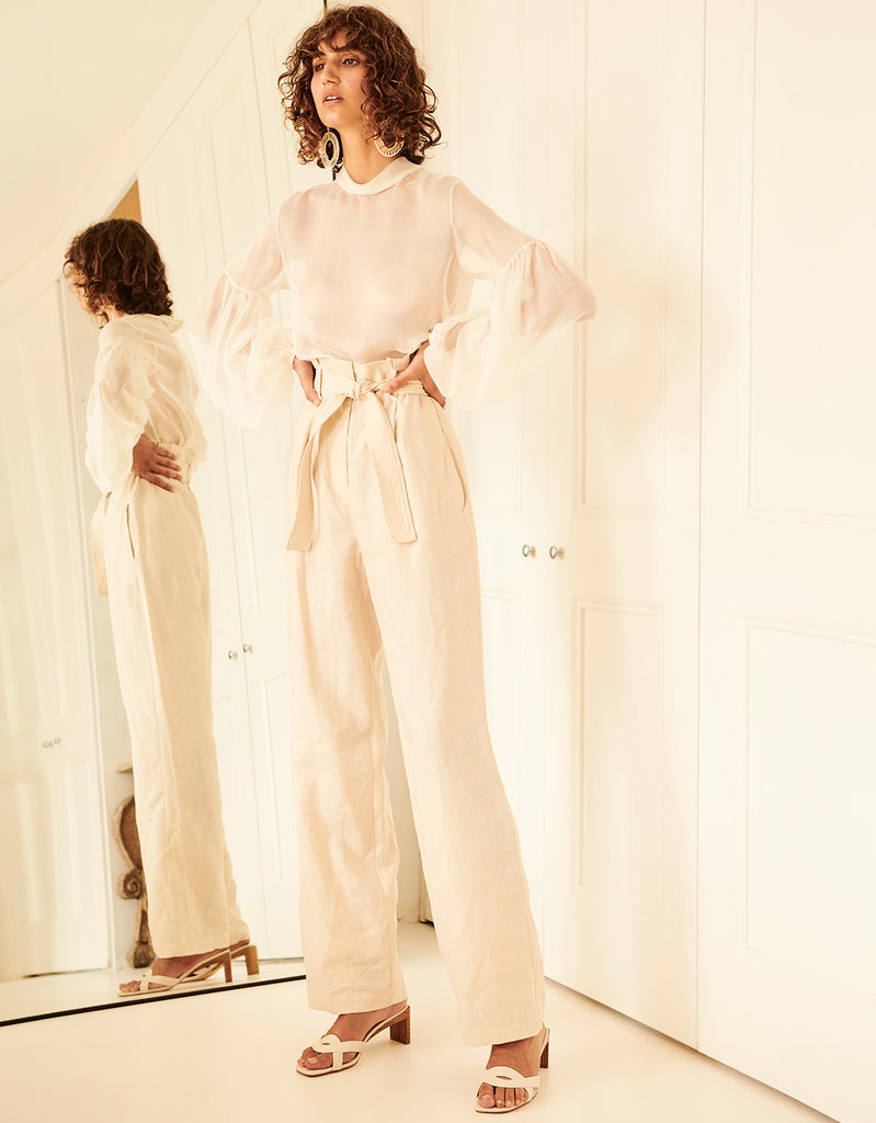 Silk High Neck Top in White and Linen Belted Pant in Beech by Apartment Clothing