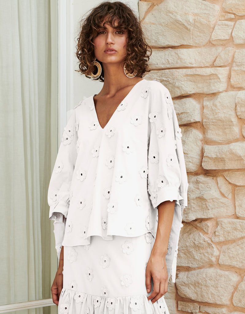 Daisy Tie Sleeve Top in White by Apartment Clothing