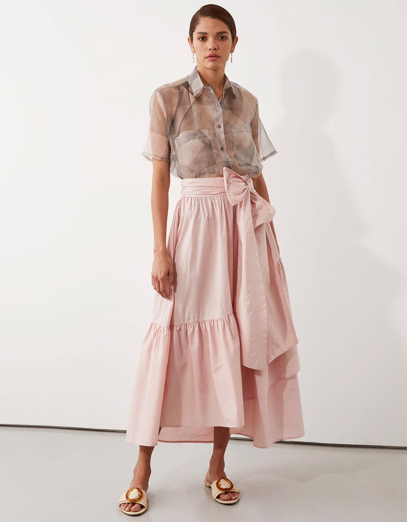Remi Camp Shirt and Parker Wrap Skirt in Pink by Apartment Clothing