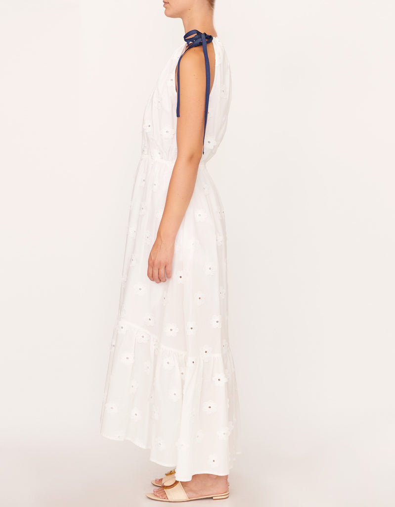 Tie Neck Maxi Dress in White by Apartment Clothing