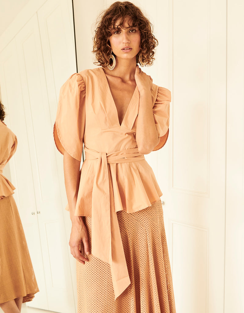 Cotton Tie Back Top and Eyelet Swing Skirt in Caramel by Apartment Clothing