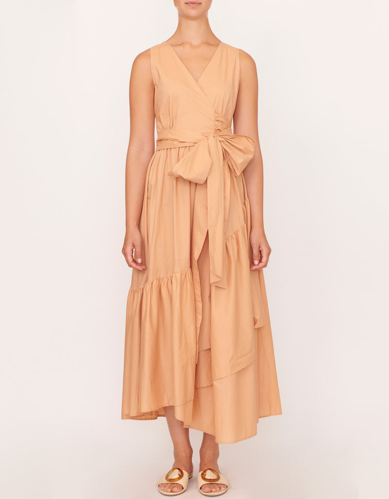 Cotton Topstitch Wrap Dress in Caramel by Apartment Clothing