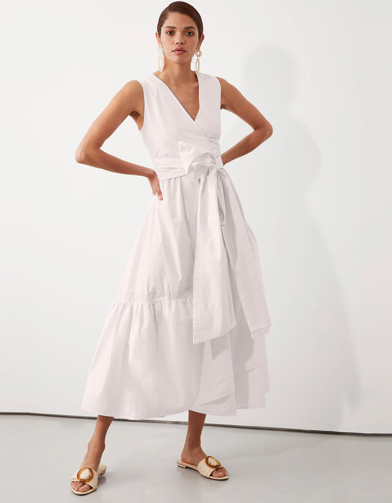 Parker Topstitch Wrap Dress in White by Apartment Clothing