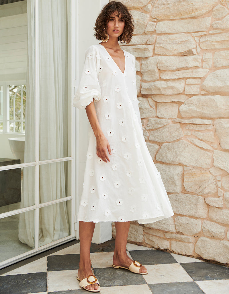 Daisy Full Sleeve Swing Midi in White by Apartment Clothing