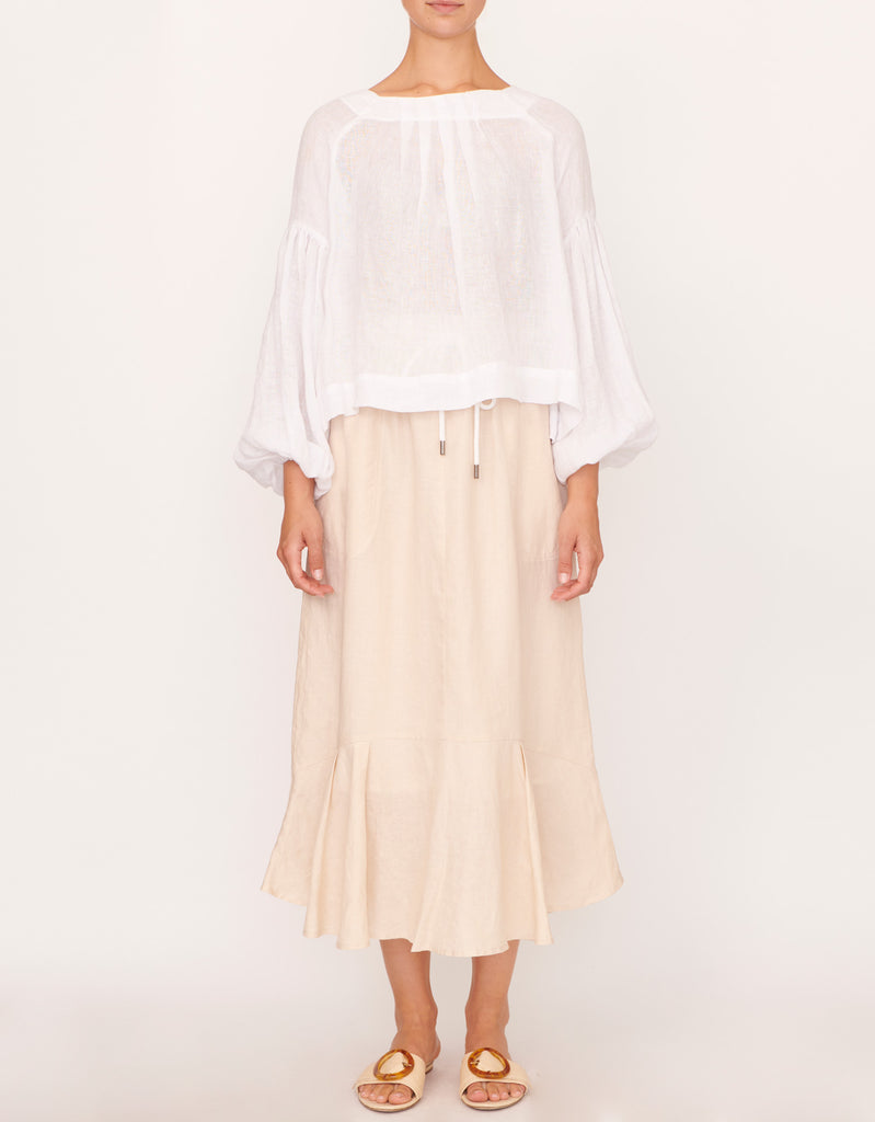 Romantic Full Sleeve Top and Beech Linen Drawstring Skirt by Apartment Clothing