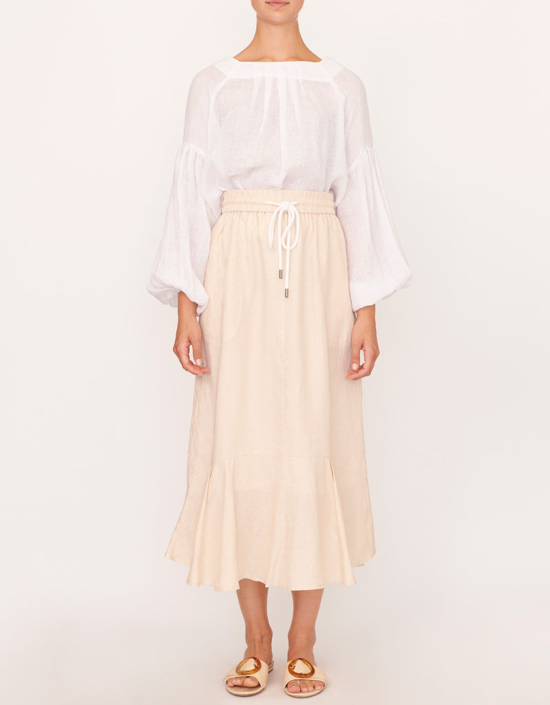 The Beech Linen Drawstring Skirt by Apartment Clothing