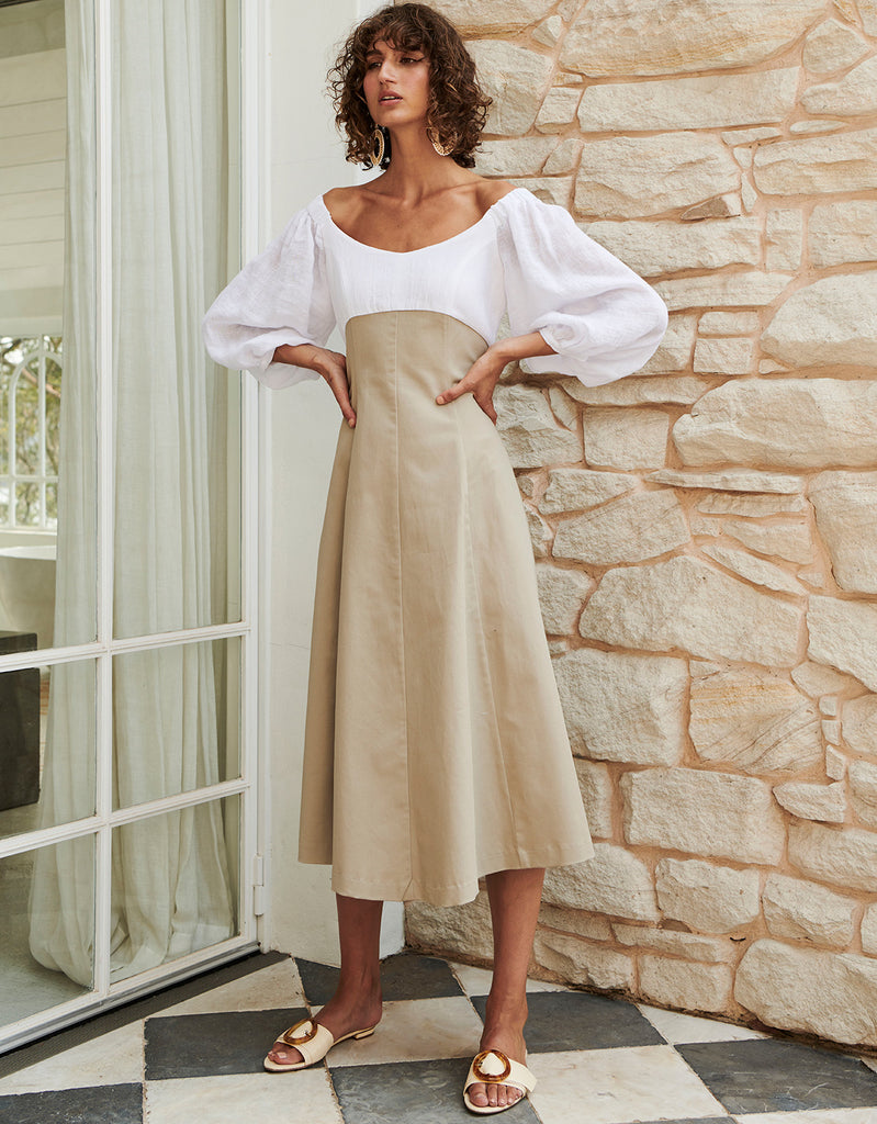 Splice Off Shoulder Dress by Apartment Clothing