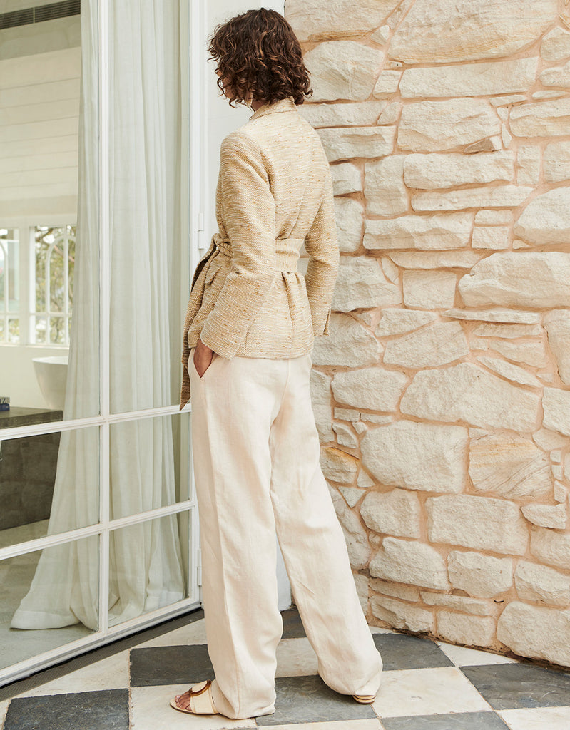 Textured Wrap Blazer and Linen Belted Pant by Apartment Clothing