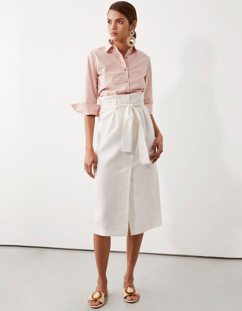 Parker Button Through in Pink and Freya Belted Skirt by Apartment Clothing