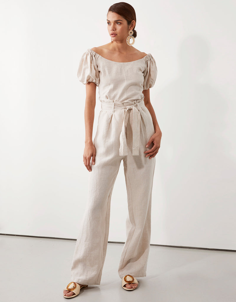 Milla Off Shoulder Top in and Milla Belted Pant in Natural by Apartment Clothing