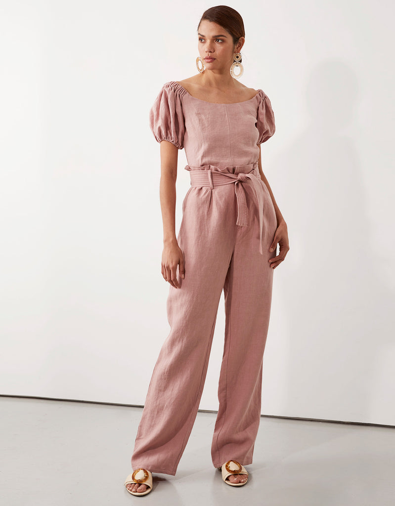 Milla Off Shoulder Top in and Milla Belted Pant in Pink by Apartment Clothing