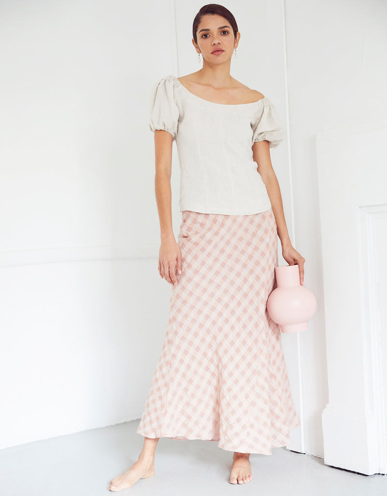 Milla Off Shoulder Top in Natural Zoey Bias Skirt by Apartment Clothing