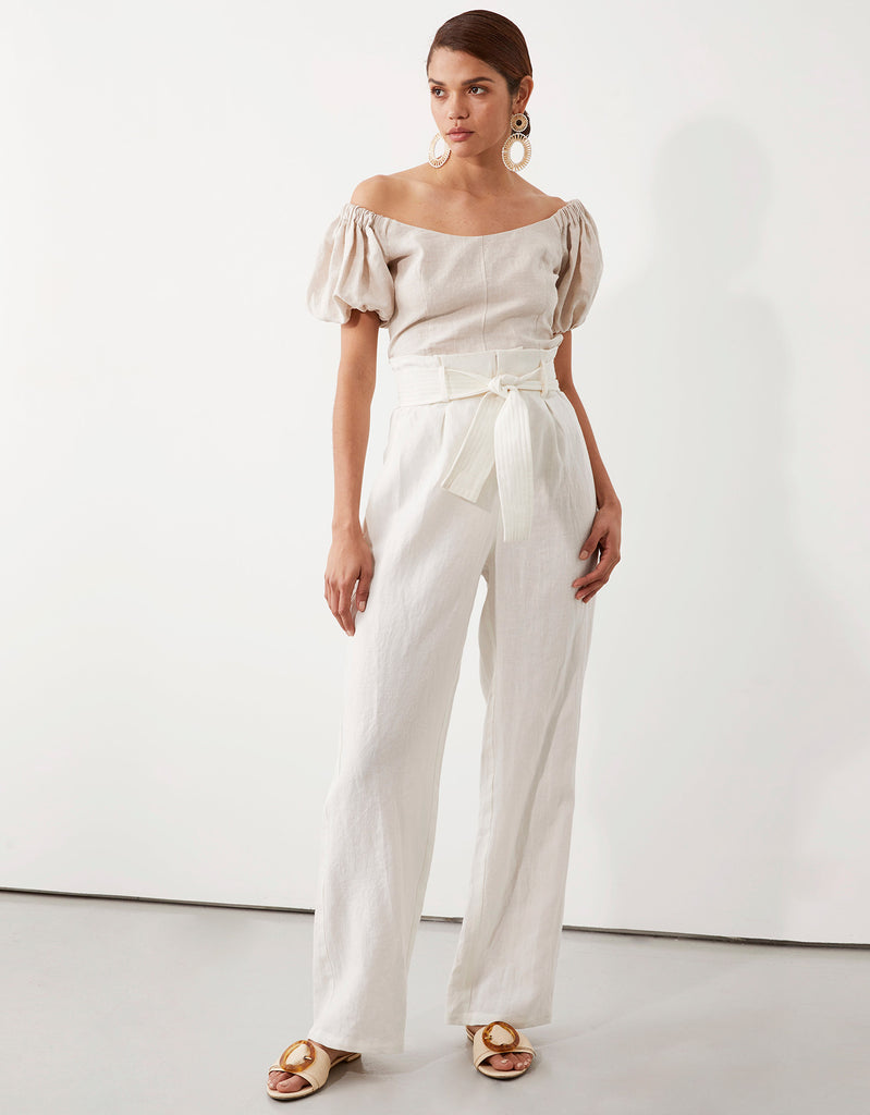 Milla Off Shoulder Top in Natural and Milla Belted Pant in White by Apartment Clothing