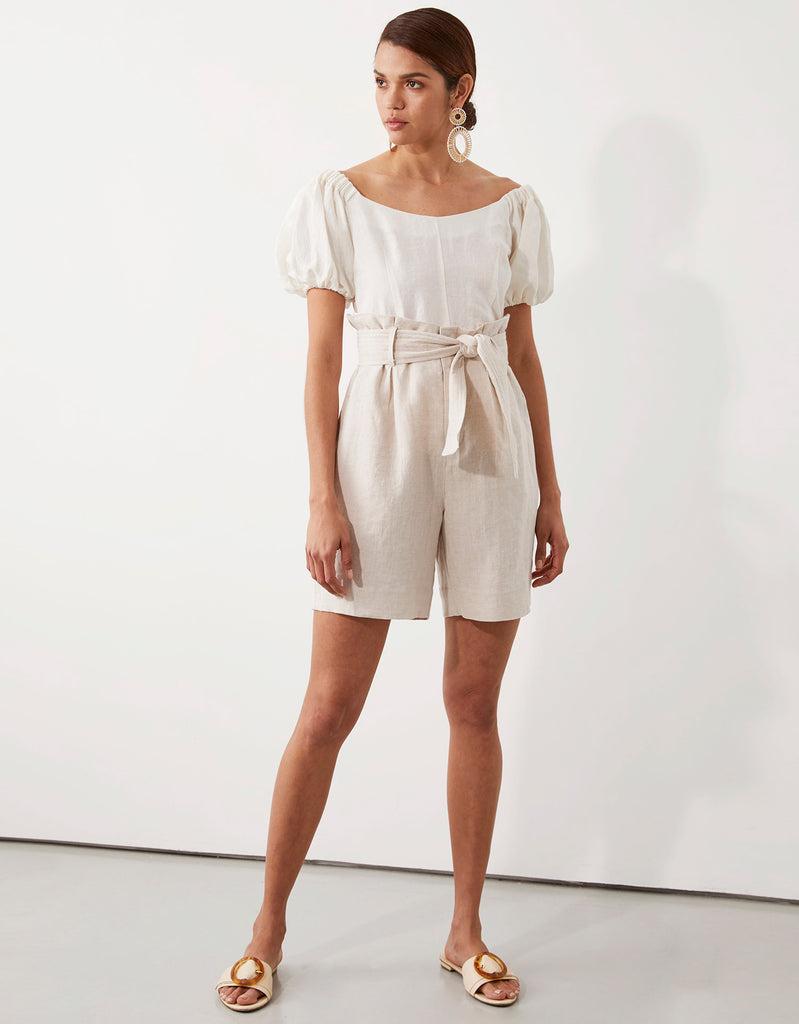 Milla Off Shoulder Top in White and Milla Belted Short in Natural by Apartment Clothing