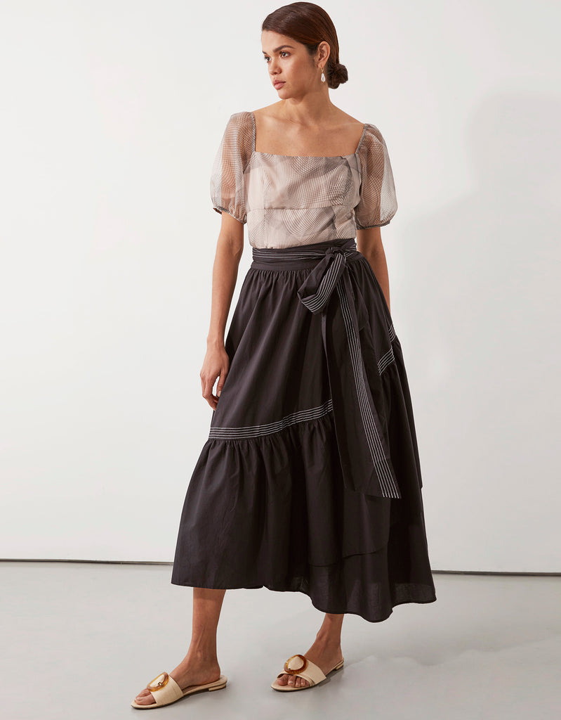 Parker Wrap Skirt in Black by Apartment Clothing