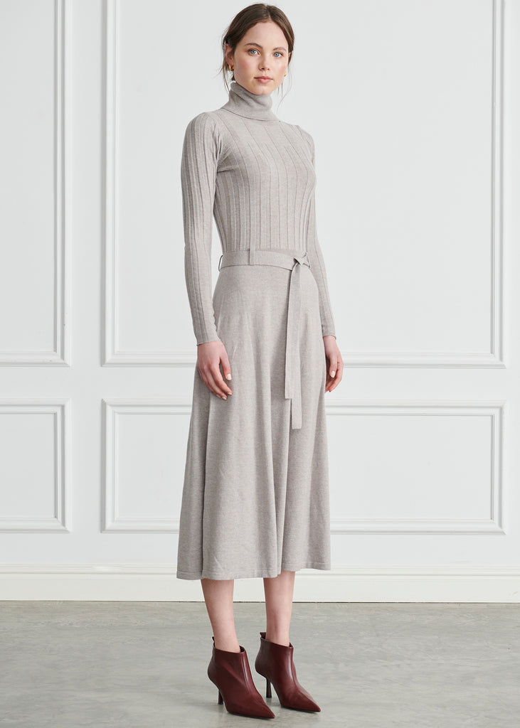 Lou Ribbed Turtleneck Maxi - Pink