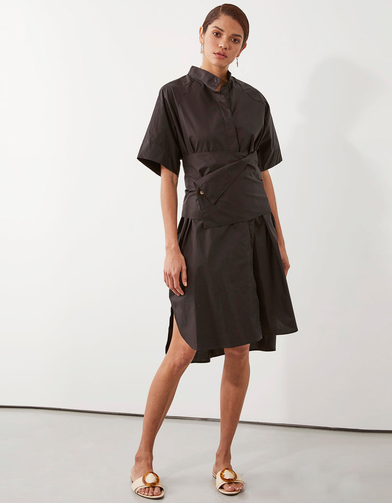 Parker Obi Shirt Dress in Black by Apartment Clothing