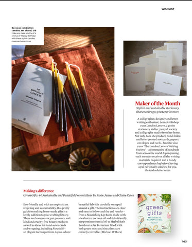 Simple Things magazine maker of the month London Letters