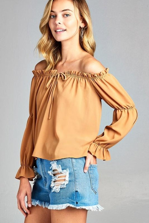 Puff Long Sleeve Ruffled Front Tie Off Shoulder Top