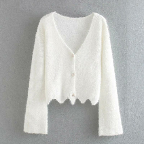 White V-neck Soft Knitted Cardigan Buttons Front Sweater.