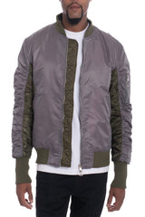 TWO TONE BOMBER- GREY.
