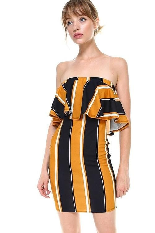 Miley + Molly Bold Stripe Flounce Tube Dress - Clothes&Fashions