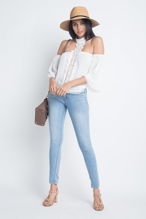 High Neck Long Sleeve Crochet Top