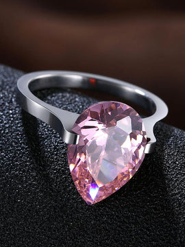 18K White Gold over Stainless Steel 1.00 Ct Pink Pear Cut Swarovski
