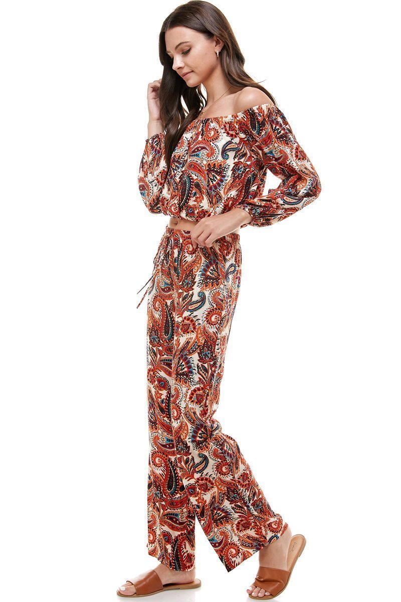 WOMEN'S FASHION PAISLEY PALAZZO PANTS.