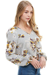 Printed Long Sleeve Crop With Gather Pull At Center Front Blouse