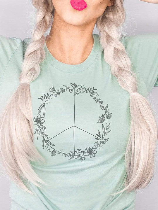 Floral Peace Sign Graphic T-Shirt