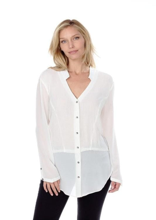 Ivory Long Sleeve Sheer Top with Buttons.