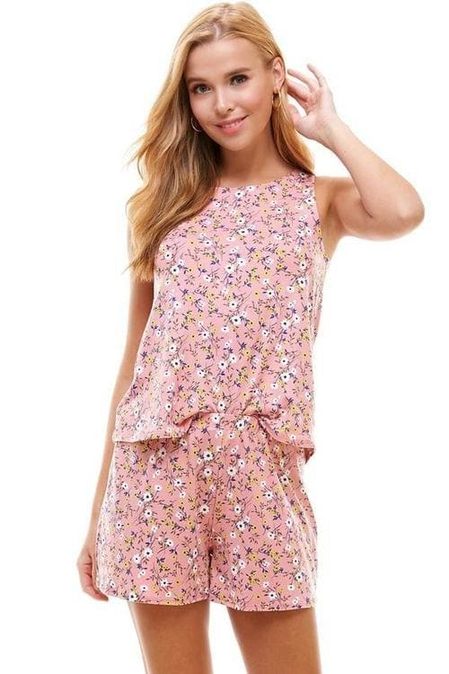 Loungewear set ditsy & floral sleeveless and short.