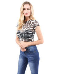 North Animal Print Sheer Top.