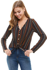 Printed Knit Wood Button Down Tie Front Cardigan.