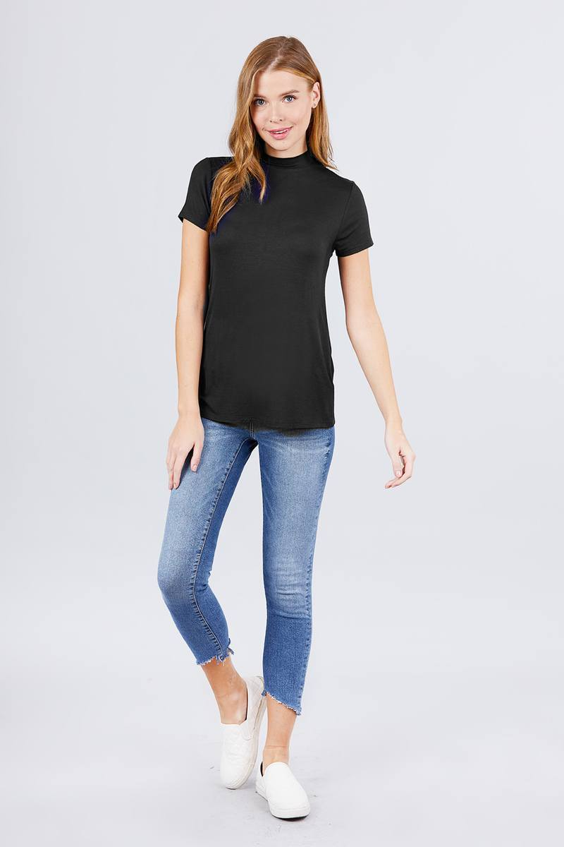 Short Sleeve Mock Neck Rayon Spandex Rib Top - Clothes&Fashions