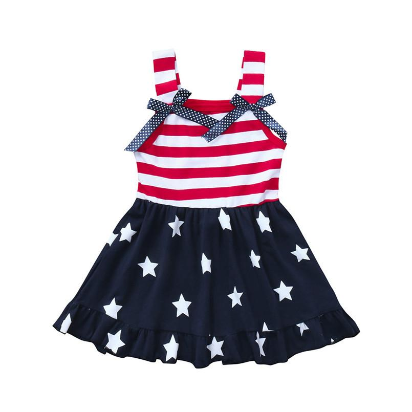 Toddler Baby Girls Dress Star Print 4th Of July.