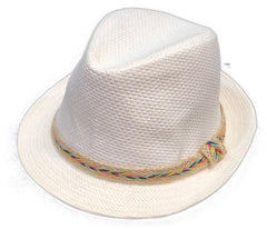 White 'Taylor' Multi Color Band Fedora - Clothes&Fashions
