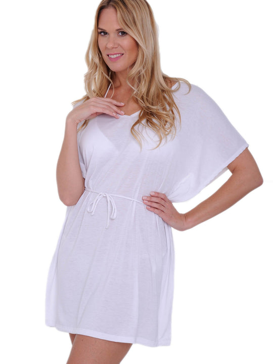 Tunic bathing suit with tie waist, beach cover-up